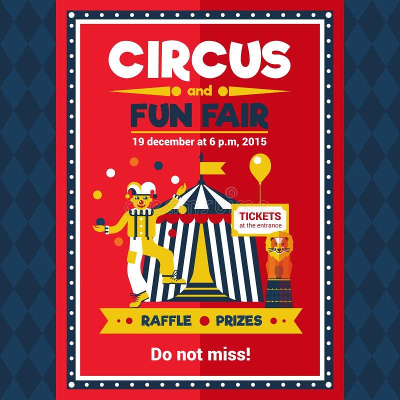 Δίκαιο κόκκινο αφισών καρναβαλιού διασκέδασης τσίρκων ελεύθερη απεικόνιση δικαιώματος