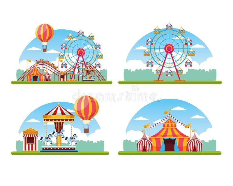 Δίκαιο σύνολο φεστιβάλ τσίρκων τοπίου διανυσματική απεικόνιση