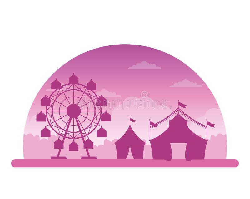 Δίκαιο τοπίο σκιαγραφιών φεστιβάλ τσίρκων ελεύθερη απεικόνιση δικαιώματος