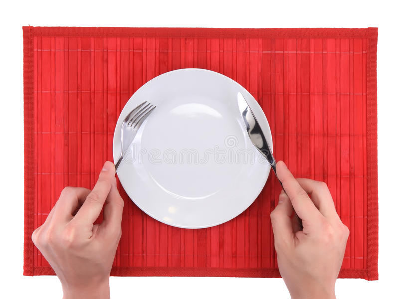 Δίκρανο και μαχαίρι λαβής χεριών στοκ φωτογραφία με δικαίωμα ελεύθερης χρήσης