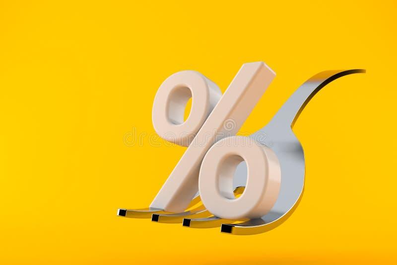 Δίκρανο με το σύμβολο τοις εκατό απεικόνιση αποθεμάτων