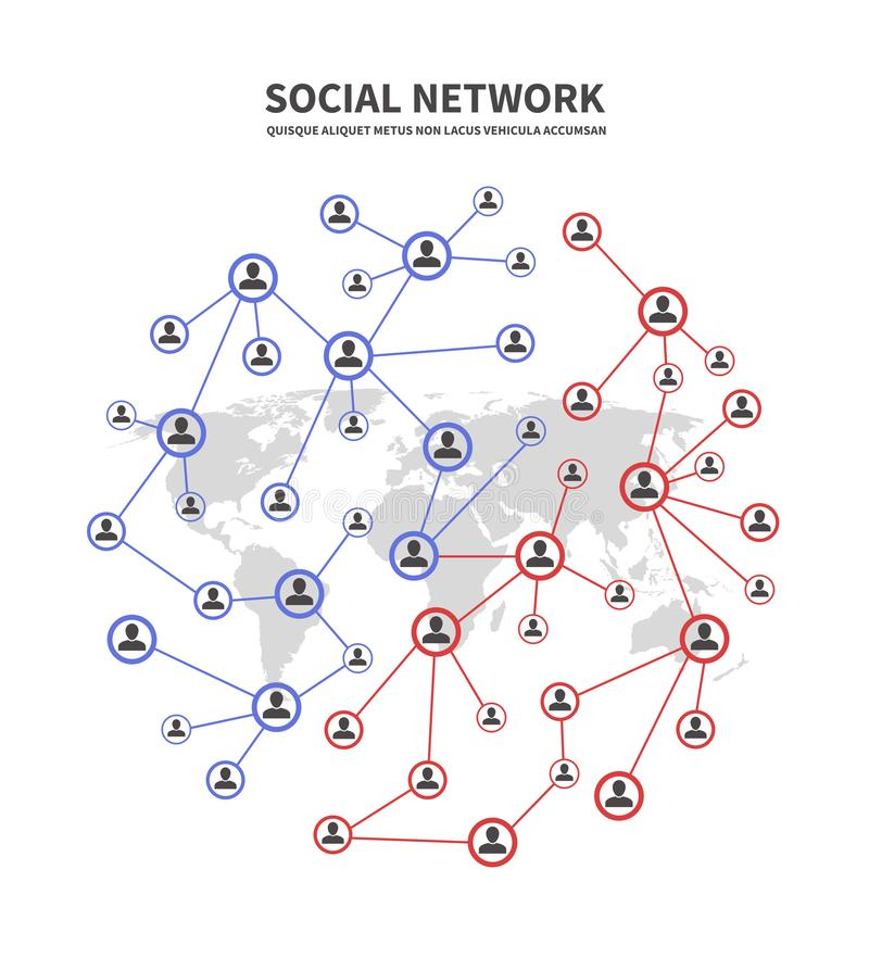 Δίκτυα socia ανθρώπων και τηλεπικοινωνίες, ανθρώπινη διανυσματική έννοια συνδέσεων με τα πρόσωπα που μοιράζονται τα εικονίδια πλη ελεύθερη απεικόνιση δικαιώματος