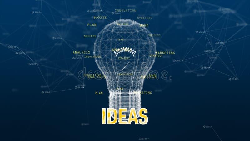 Δίκτυο δεδομένων τεχνολογίας με τον ψηφιακό λαμπτήρα στην μπλε δημιουργική ιδέα υποβάθρου απεικόνιση αποθεμάτων