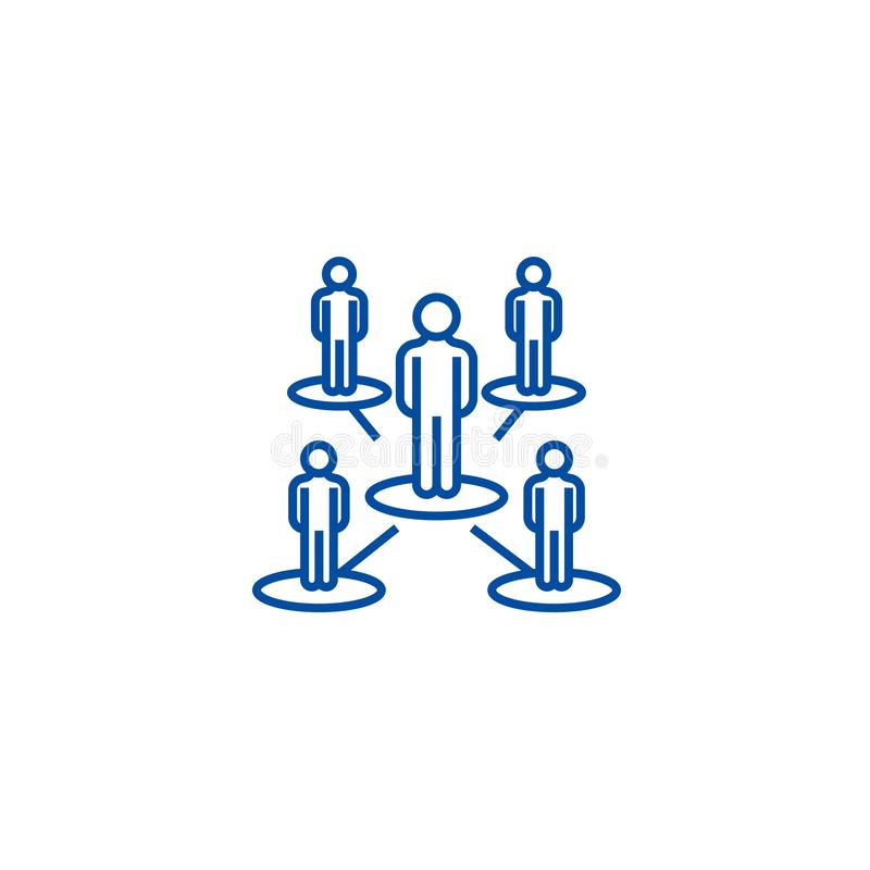 Δίκτυο ηγεσίας, πολλαπλής στάθμης έννοια εικονιδίων γραμμών Δίκτυο ηγεσίας, πολλαπλής στάθμης επίπεδο διανυσματικό σύμβολο, σημάδ απεικόνιση αποθεμάτων