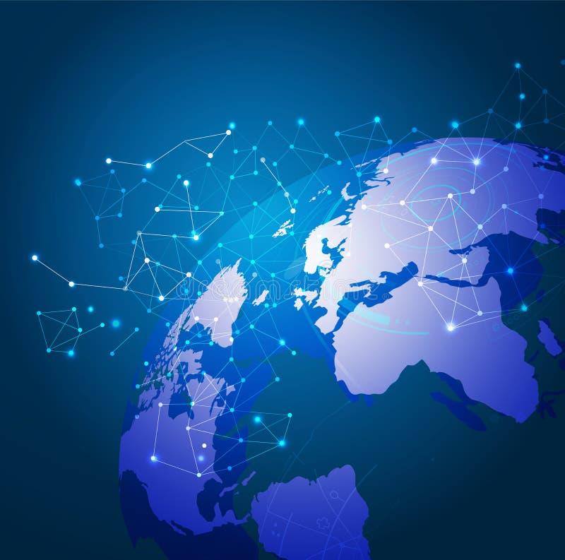 Δίκτυο, διάνυσμα & απεικόνιση πλέγματος παγκόσμιας τεχνολογίας διανυσματική απεικόνιση