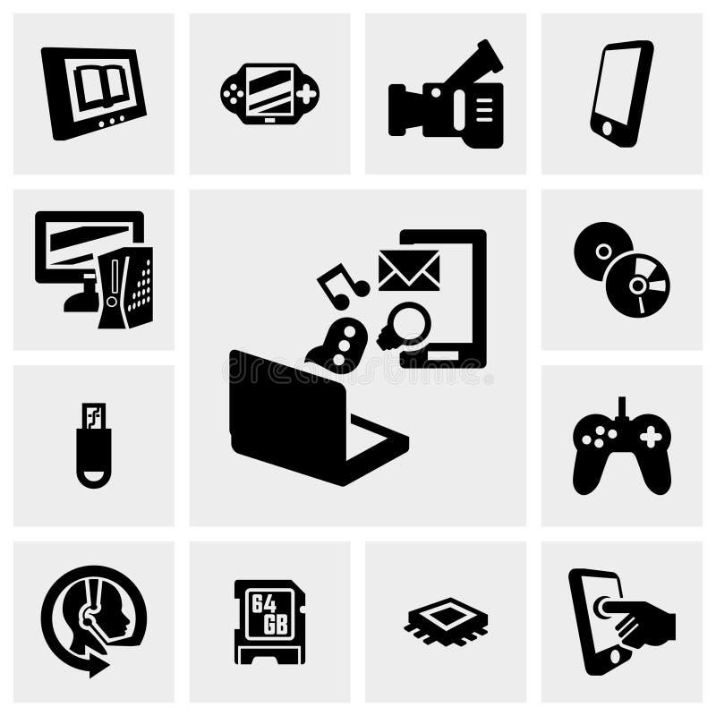 Δίκτυο, διανυσματικά εικονίδια τεχνολογίας που τίθενται σε γκρίζο ελεύθερη απεικόνιση δικαιώματος