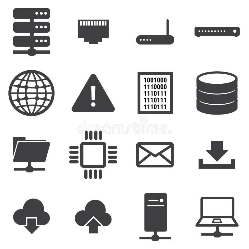Δίκτυο και σύνολο εικονιδίων κεντρικών υπολογιστών διανυσματική απεικόνιση