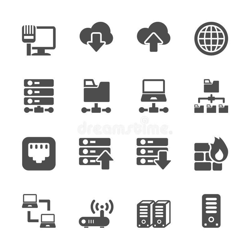 Δίκτυο και σύνολο εικονιδίων κεντρικών υπολογιστών, διανυσματικό eps10 διανυσματική απεικόνιση