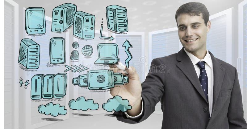 Δίκτυο κεντρικών υπολογιστών doodle που σύρεται από τον επιχειρηματία στοκ εικόνα με δικαίωμα ελεύθερης χρήσης