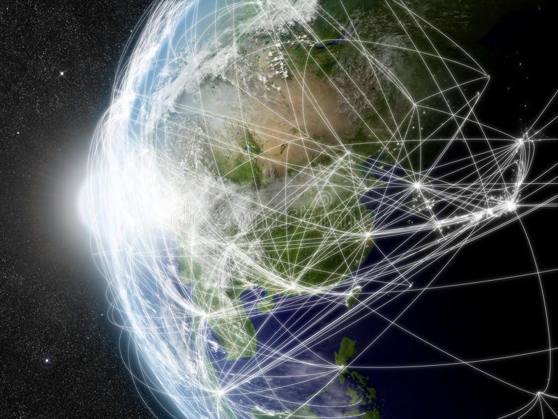 Δίκτυο πέρα από την ανατολική Ασία ελεύθερη απεικόνιση δικαιώματος