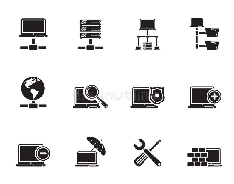 Δίκτυο σκιαγραφιών, κεντρικός υπολογιστής και φιλοξενώντας εικονίδια διανυσματική απεικόνιση
