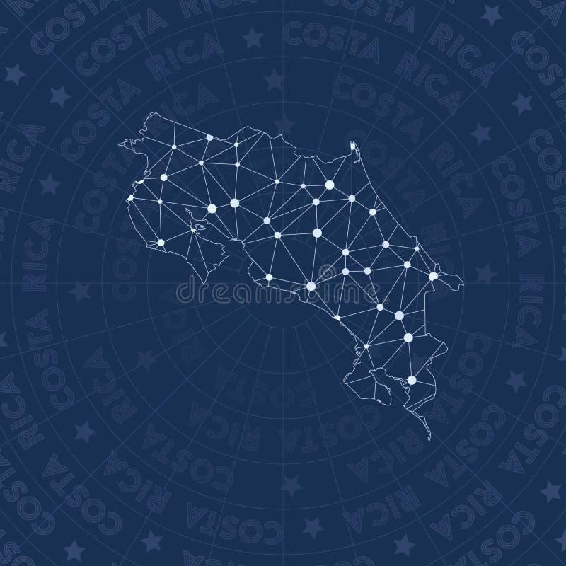 Δίκτυο της Κόστα Ρίκα, χώρα ύφους αστερισμού διανυσματική απεικόνιση