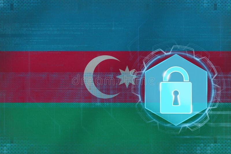 Δίκτυο του Αζερμπαϊτζάν που προστατεύεται Καθαρή έννοια προστασίας διανυσματική απεικόνιση