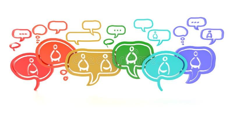 Δίκτυο των ιδεών από τους διαφορετικούς ανθρώπους (τρισδιάστατους) ελεύθερη απεικόνιση δικαιώματος