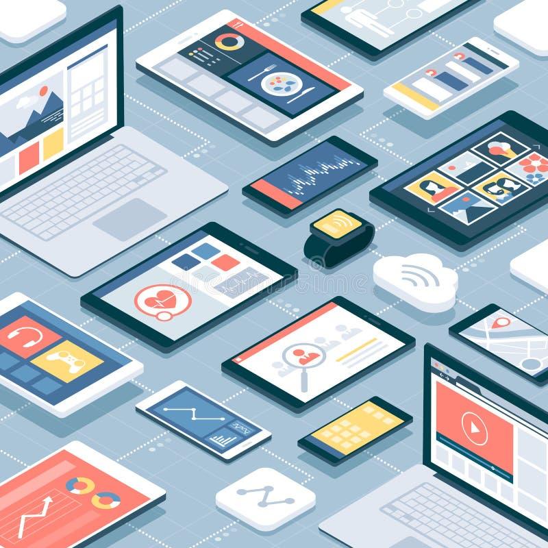 Δίκτυο των συσκευών και των κινητών apps διανυσματική απεικόνιση