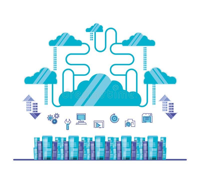 Δίκτυο υπολογισμού σύννεφων με τους πύργους κεντρικών υπολογιστών ελεύθερη απεικόνιση δικαιώματος