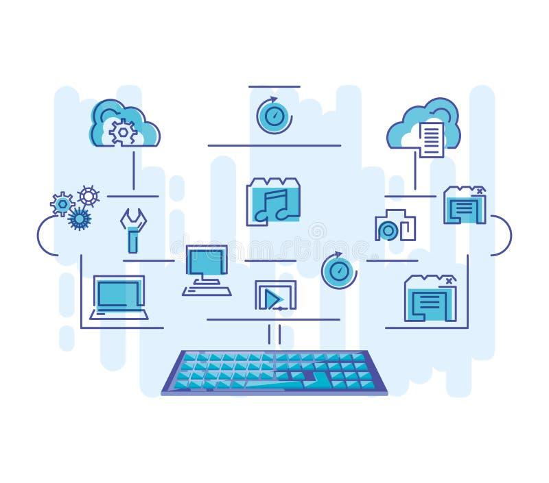 Δίκτυο υπολογισμού σύννεφων με το πληκτρολόγιο διανυσματική απεικόνιση