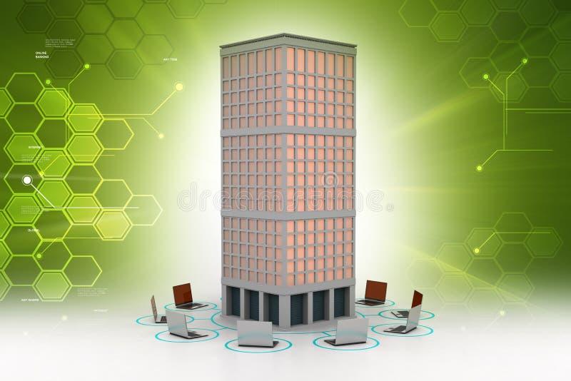 Δίκτυο υπολογιστών γύρω από το κτήριο ελεύθερη απεικόνιση δικαιώματος