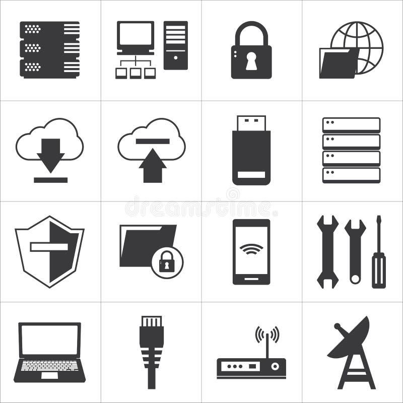Δίκτυο υπολογιστών και εικονίδιο βάσεων δεδομένων ελεύθερη απεικόνιση δικαιώματος