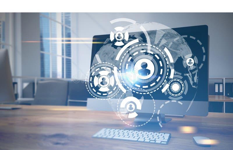 Δίκτυο HUD, σφαίρα, όργανο ελέγχου υπολογιστών στοκ εικόνα