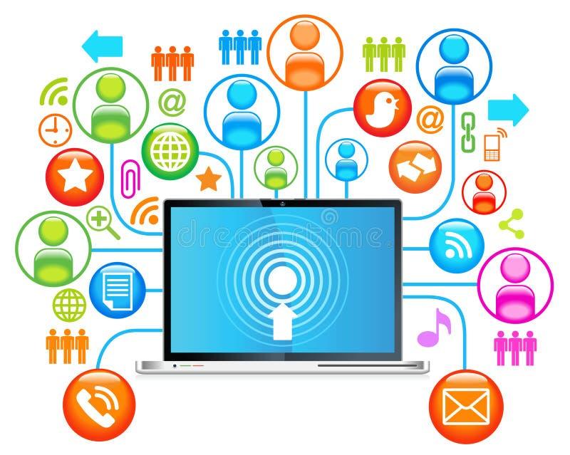 δίκτυο lap-top κοινωνικό διανυσματική απεικόνιση