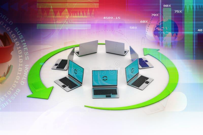Δίκτυο lap-top απεικόνιση αποθεμάτων