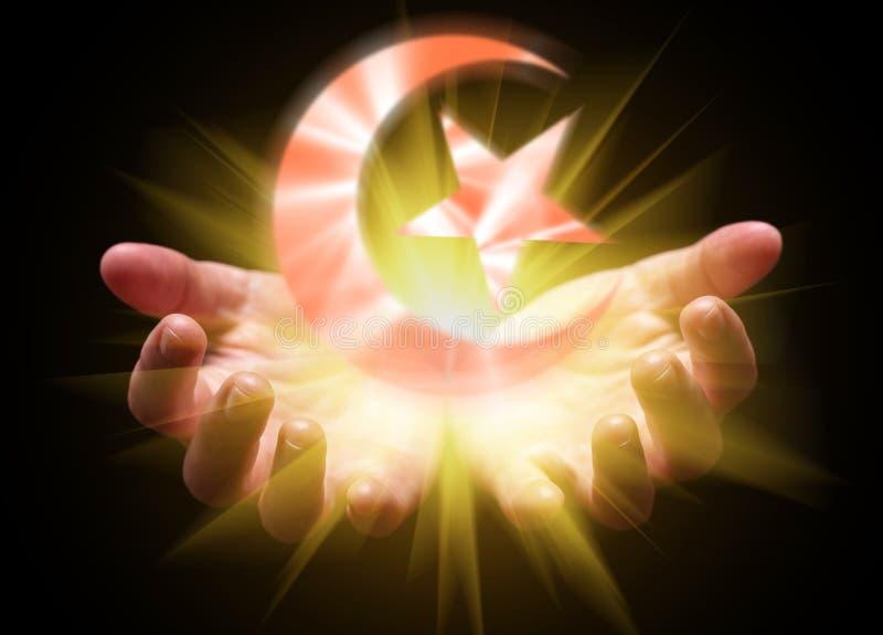 Δίνει κοίλος και κρατώντας ή παρουσιάζοντας το ισλαμικά ημισεληνοειδή φεγγάρι και αστέρι στοκ φωτογραφίες