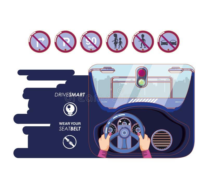 Δίνει το οδηγώντας αυτοκίνητο με τα εικονίδια οδηγών ακίνδυνα διανυσματική απεικόνιση