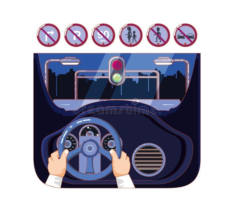 Δίνει το οδηγώντας αυτοκίνητο με τα εικονίδια οδηγών ακίνδυνα ελεύθερη απεικόνιση δικαιώματος
