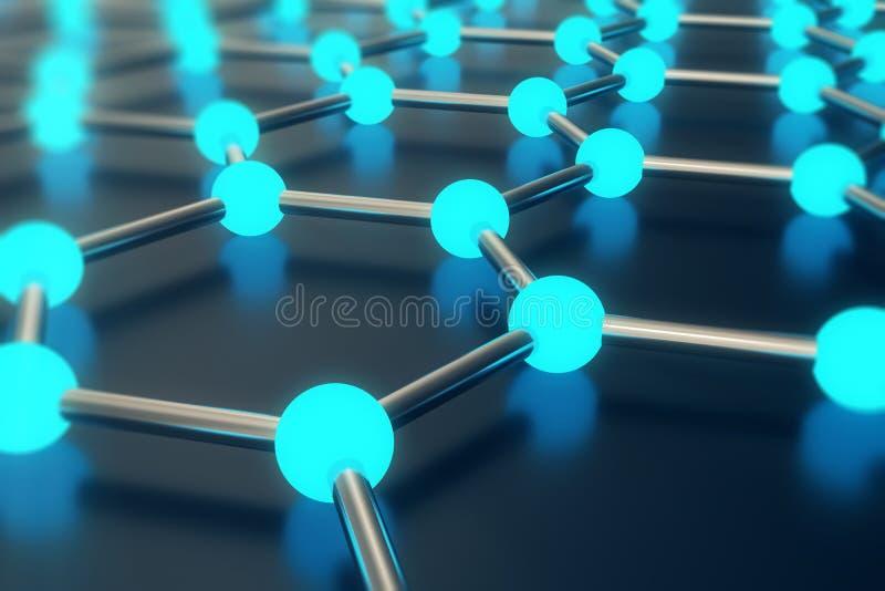 Δίνοντας την αφηρημένη νανοτεχνολογία την εξαγωνική γεωμετρική κινηματογράφηση σε πρώτο πλάνο μορφής, ατομική δομή έννοιας graphe διανυσματική απεικόνιση