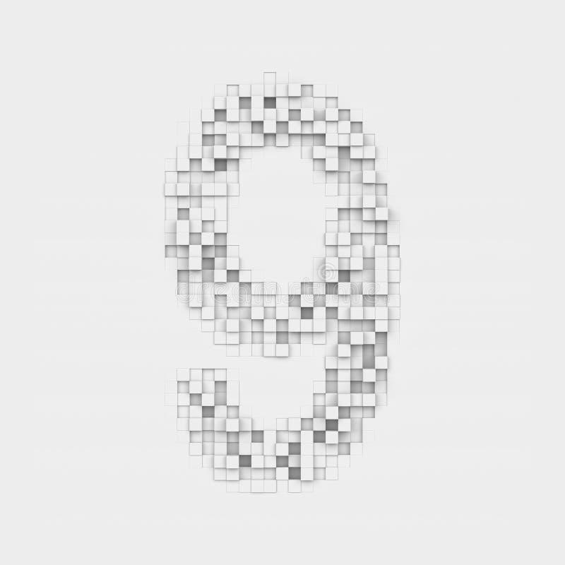 Δίνοντας τον αριθμό 9 φιαγμένο επάνω από άσπρα τετραγωνικά ανώμαλα κεραμίδια ελεύθερη απεικόνιση δικαιώματος