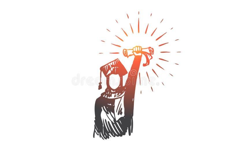Δίπλωμα, επίτευγμα, επιτυχία, πτυχιούχος, έννοια Ισλάμ Συρμένο χέρι απομονωμένο διάνυσμα ελεύθερη απεικόνιση δικαιώματος