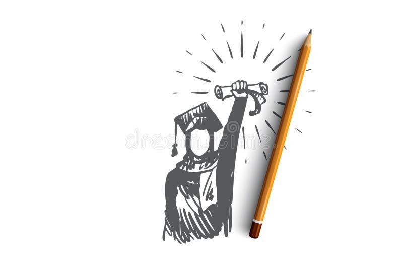 Δίπλωμα, επίτευγμα, επιτυχία, πτυχιούχος, έννοια Ισλάμ Συρμένο χέρι απομονωμένο διάνυσμα διανυσματική απεικόνιση