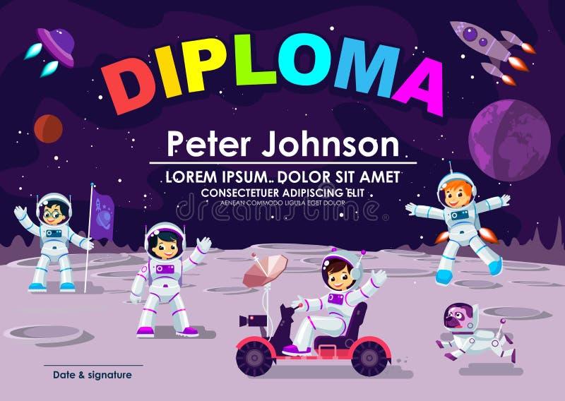 Δίπλωμα παιδιών ή βεβαίωση του επιτεύγματος & διαστημικό πρότυπο θέματος φεγγαριών εκτίμησης δροσερό διανυσματικό Αστροναύτης παι απεικόνιση αποθεμάτων