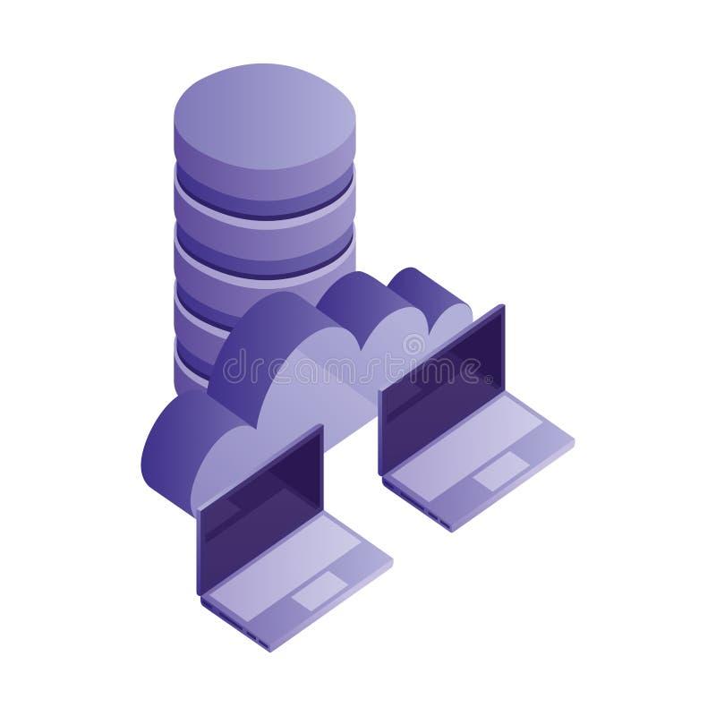 Δίσκοι κέντρων δεδομένων με τον υπολογισμό υπολογιστών και σύννεφων lap-top απεικόνιση αποθεμάτων
