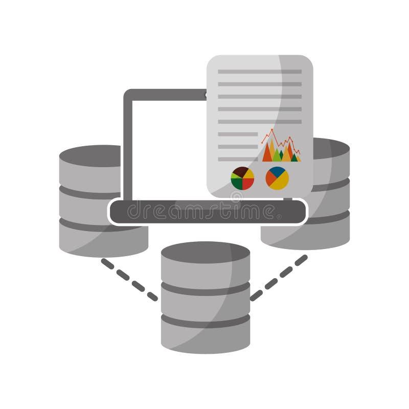 Δίσκοι κέντρων δεδομένων με το lap-top και το έγγραφο διανυσματική απεικόνιση