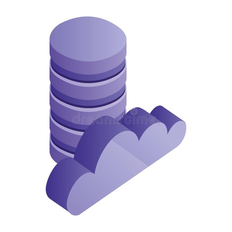 Δίσκοι και σύννεφο κέντρων δεδομένων που υπολογίζουν το isometric εικονίδιο απεικόνιση αποθεμάτων