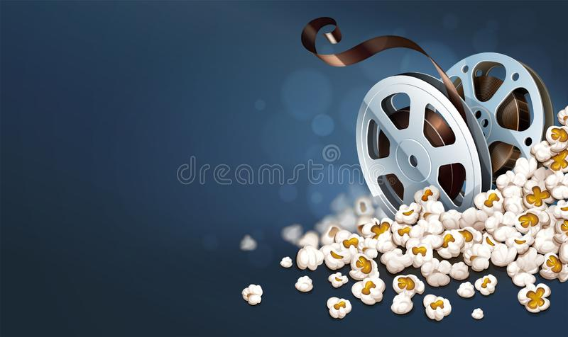 Δίσκοι ταινία-εξελίκτρων Cinematograpy popcorn Σε απευθείας σύνδεση έμβλημα κινηματογράφων r διανυσματική απεικόνιση