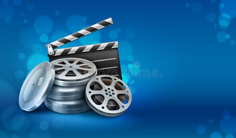 Δίσκοι ταινιών κινηματογράφων με clapper διευθυντών για την κινηματογραφία απεικόνιση αποθεμάτων