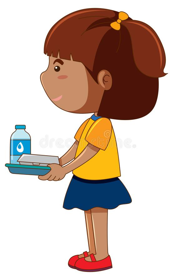 Δίσκος εκμετάλλευσης μικρών κοριτσιών με τα τρόφιμα και το ποτό ελεύθερη απεικόνιση δικαιώματος