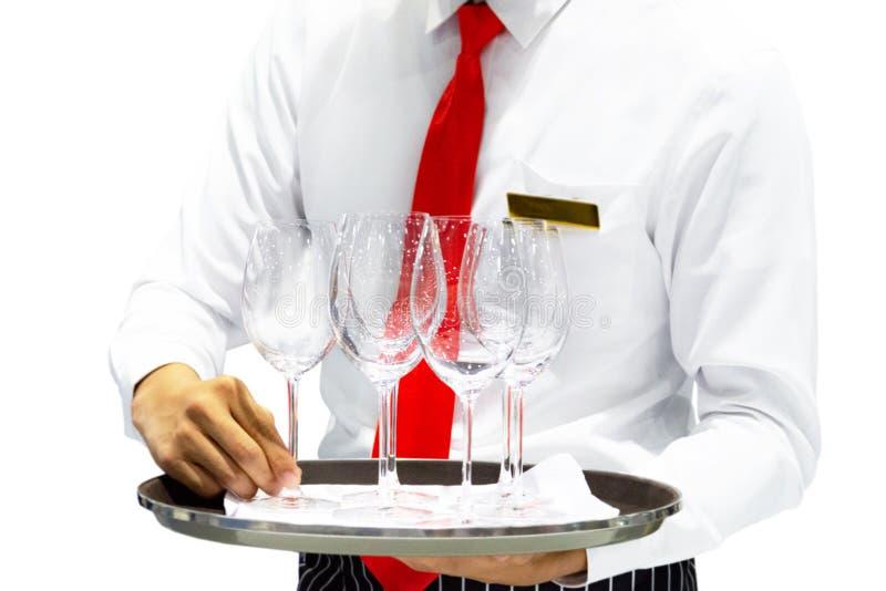 Δίσκος εκμετάλλευσης σερβιτόρων με τα ποτήρια του κρασιού στο άσπρο υπόβαθρο, εξυπηρέτηση σερβιτορών στοκ εικόνα με δικαίωμα ελεύθερης χρήσης