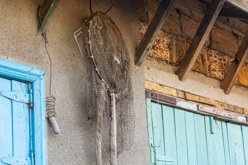 Δίχτυ του ψαρέματος στον τοίχο στοκ φωτογραφία με δικαίωμα ελεύθερης χρήσης