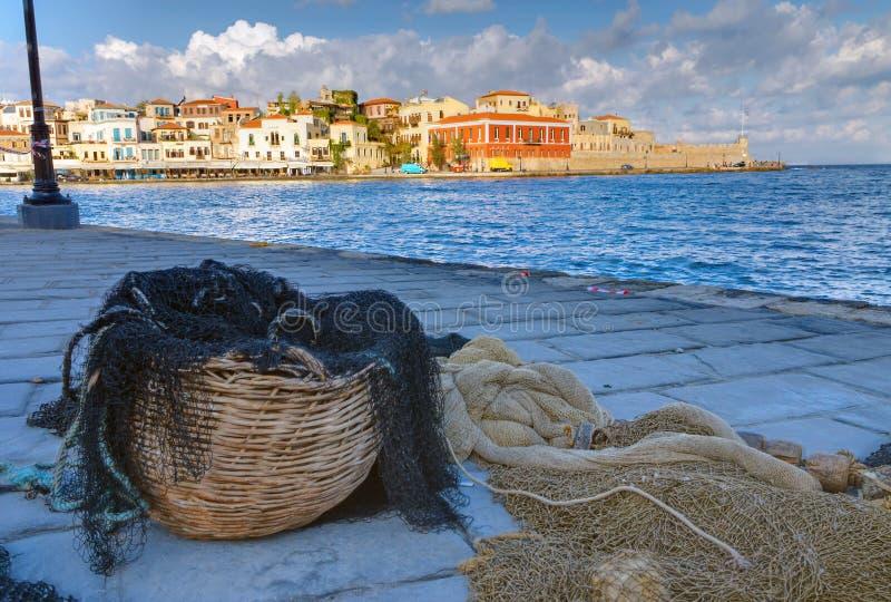 Δίχτυ του ψαρέματος στο λιμένα Chania στοκ εικόνες