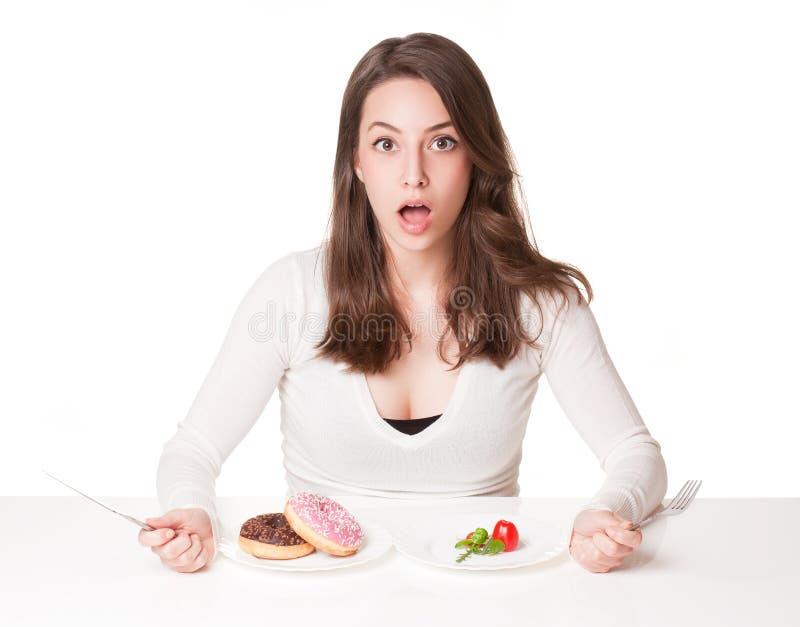Δίλημμα διατροφής στοκ φωτογραφίες με δικαίωμα ελεύθερης χρήσης