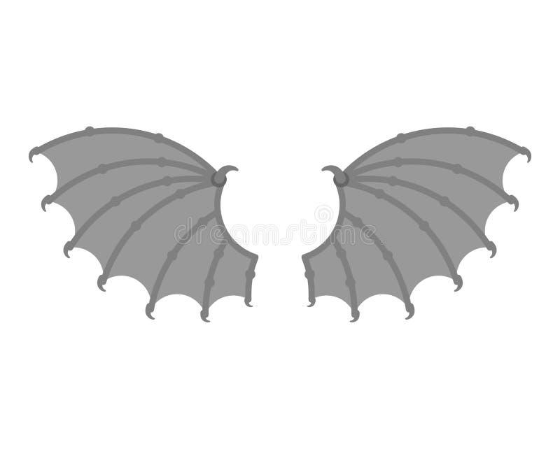 Δαίμονας φτερών που απομονώνεται Διάβολος φτερών Φτερωτό ρόπαλο ή gargoyle διανυσματική απεικόνιση