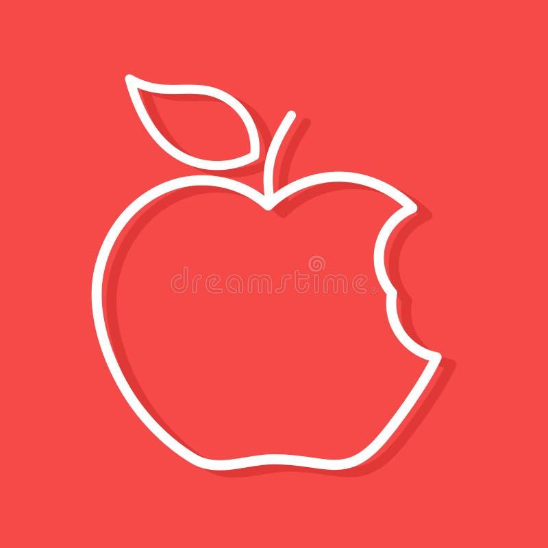 Δαγκωμένη μορφή περιλήψεων μήλων ελεύθερη απεικόνιση δικαιώματος