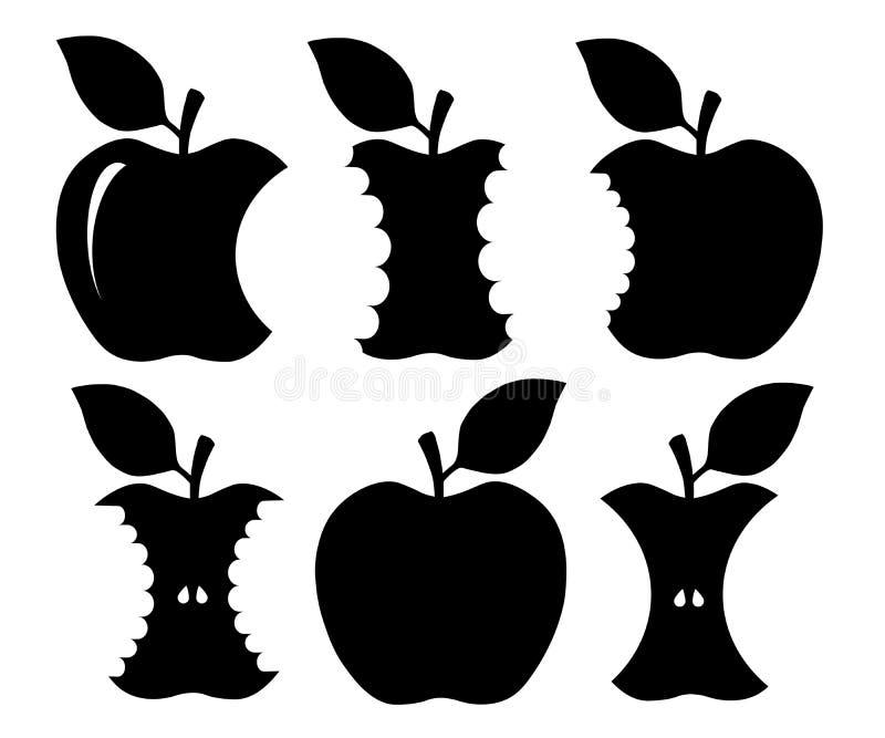 Δαγκωμένη σκιαγραφία μήλων διανυσματική απεικόνιση