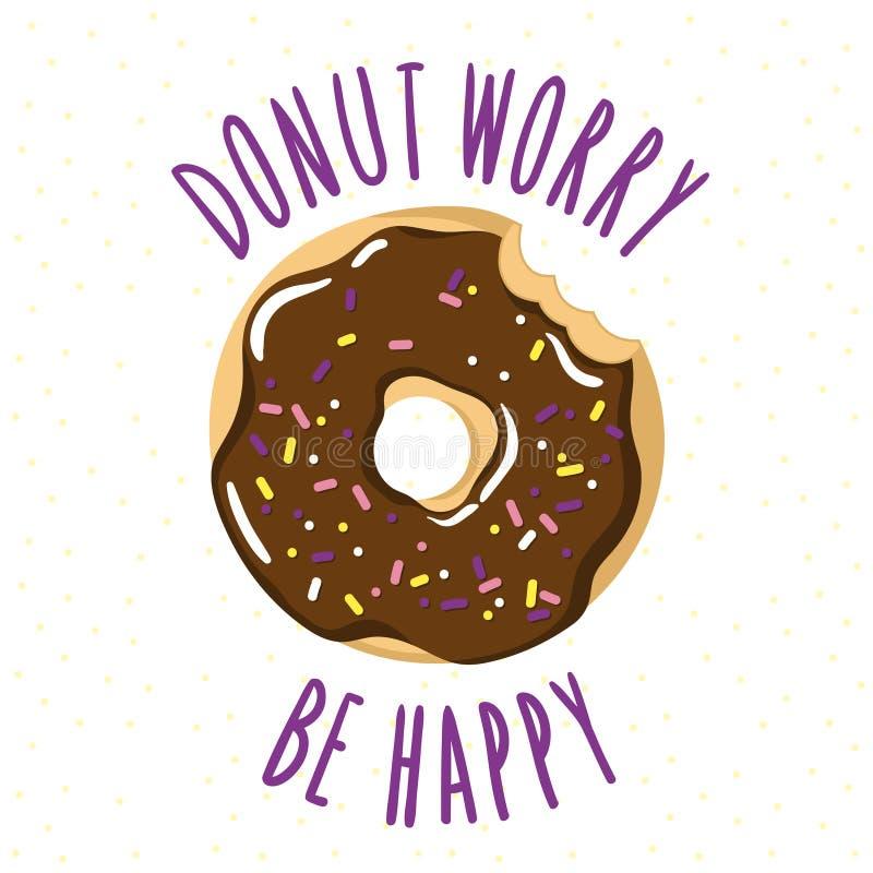 Δαγκωμένο βερνικωμένο doughnut με μια doughnut επιγραφή-λογοπαίγνιου ανησυχία είναι ευτυχές ελεύθερη απεικόνιση δικαιώματος