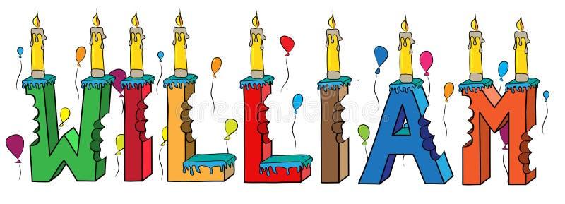 Δαγκωμένο ζωηρόχρωμο τρισδιάστατο γράφοντας κέικ γενεθλίων ονόματος του William με τα κεριά και τα μπαλόνια διανυσματική απεικόνιση