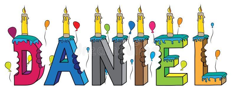 Δαγκωμένο ζωηρόχρωμο τρισδιάστατο γράφοντας κέικ γενεθλίων ονόματος του Ντάνιελ με τα κεριά και τα μπαλόνια απεικόνιση αποθεμάτων